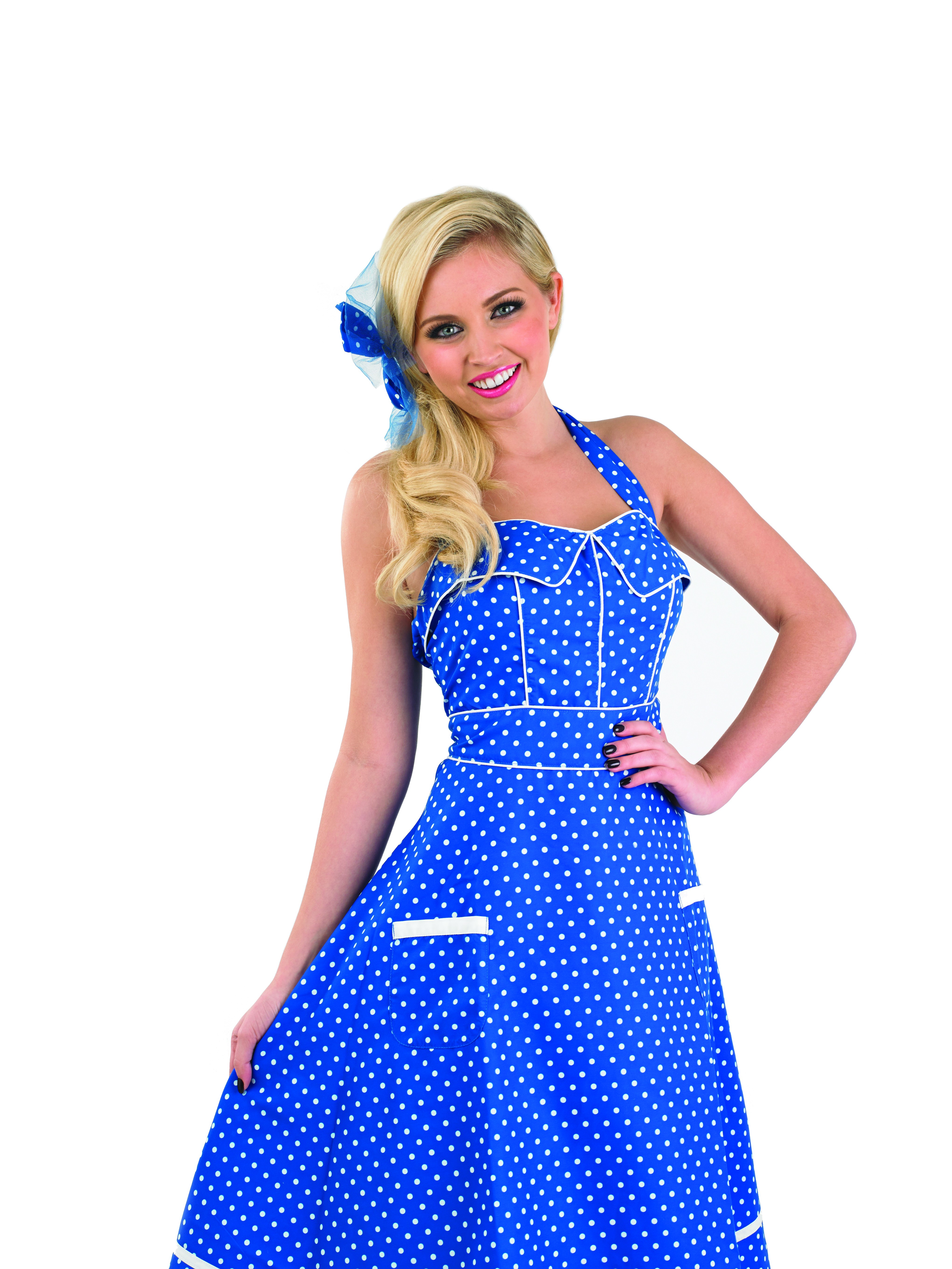 Ladies 1950s Blue Day Dress Costume ~ AbFab.co.uk - Cheap ...