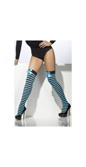 Striped Thigh High Stockings, Blue and Black