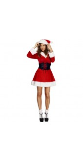 Ladies Fever Hooded Miss Santa Christmas Fancy Dress Costume