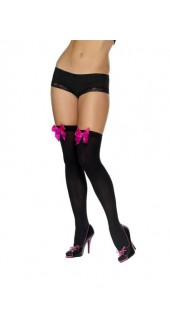 Black Hold-Ups With Fuchsia Bows