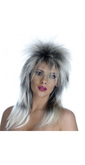 Silver And Black Glam Rock Wig