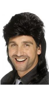 80s Mullet Wig Black