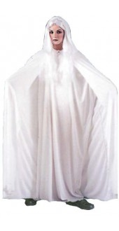 Adult Deluxe White Hooded 74 Inch Cape