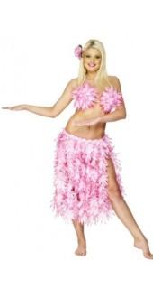 Adult Pink Leaf Hawaiian Skirt Smiffys