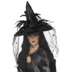 Witch Hat, Feathers and Netting, Black