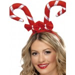 Candy Cane Headband With Bows, Red and White