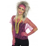 Lace Net Vest Neon Pink With Gloves And Headband