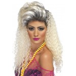 80s Bottle Blonde Wig,Curly With Quiff