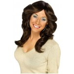 Adult Female Long Brown 70`s Flick Wig