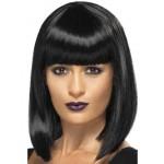 Ladies Short Blunt Cut Fancy Dress Wig Black