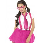 Ladies Geek Schoolgirl Fancy Dress Costume