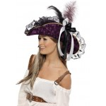 Ladies Fever Marauding Fancy Dress Pirate Hat With Feathers