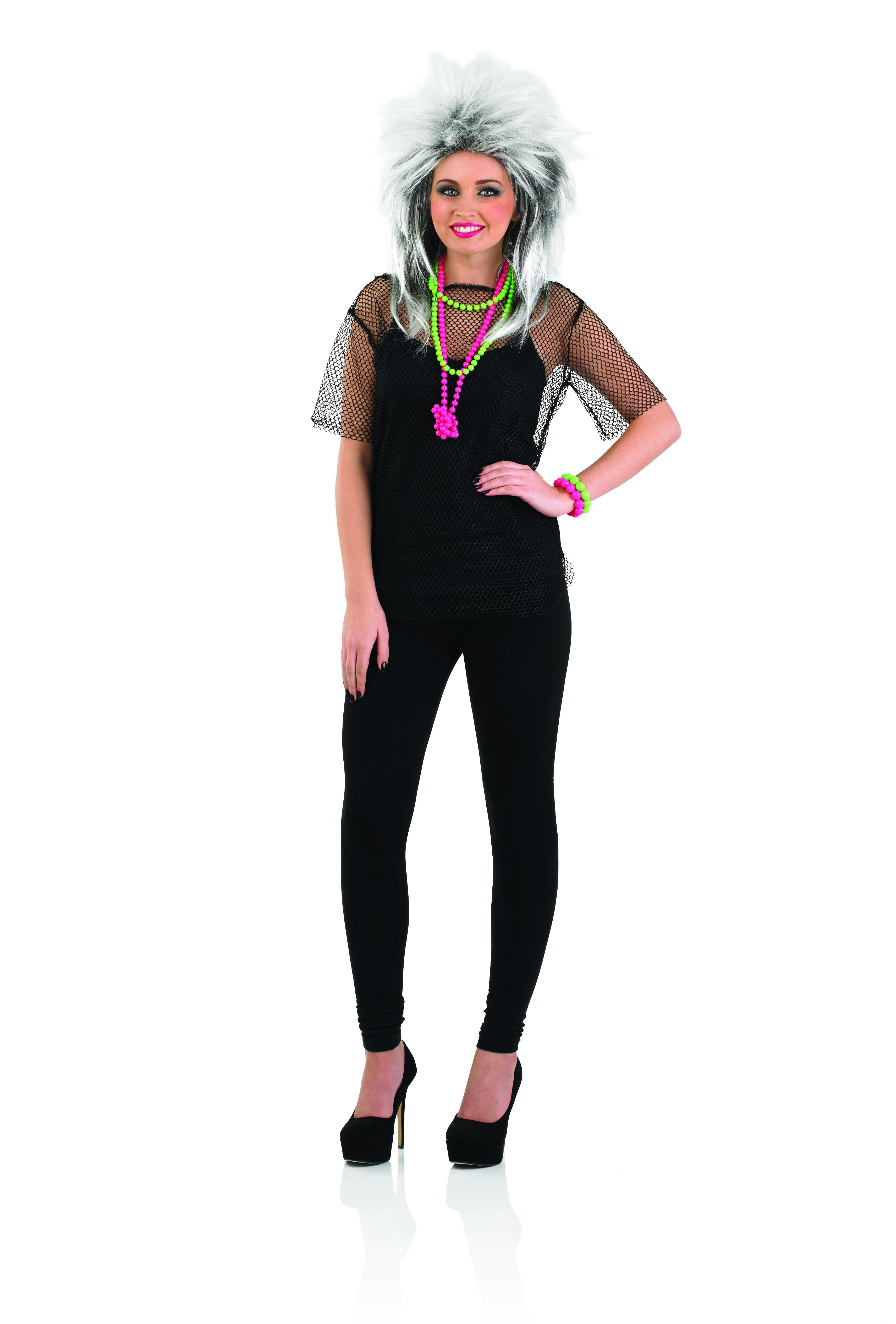 Ladies 80s Black Mesh Fancy Dress Top ~ AbFab.co.uk ...
