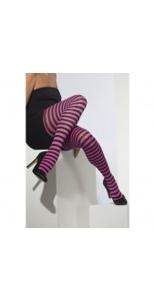 Striped Tights, Black and Fuchsia