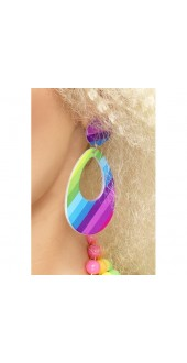 Ladies 80s Neon Teardrop Fancy Dress Earrings