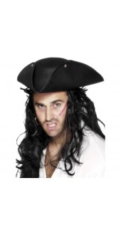 Black Tricorn Pirate Hat