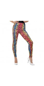 Ladies 1980s Neon Leopard Print Fancy Dress Leggings