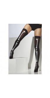 Skeleton Print Thigh High Stockings, Black