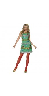 Smiffy's Ladies Christmas Tree Costume - Size Small (dress size 8-10)