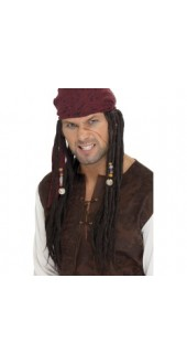 Pirate Wig & Scarf,Brown
