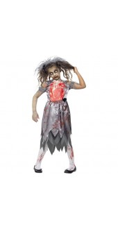Girls Zombie Bride Halloween Fancy Dress Costume
