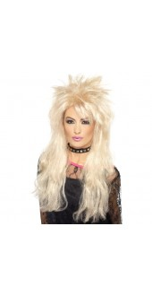 Ladies 80s Long Blonde Fancy Dress Mullet Wig
