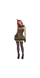 Fever Creepy Zombie Clown Lady Costume
