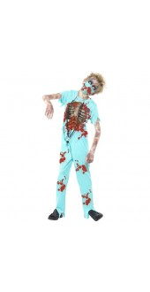 Boys Zombie Surgeon Halloween Fancy Dress Costume