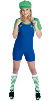 Ladies Green Plumbers Mate Costume