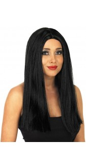 Ladies Black Straight Centre Parting Wig