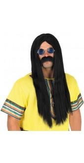 60's Hippy Black Wig
