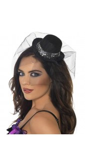 Fever Mini Top Hat On Headband Black