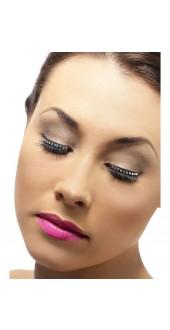 Black Eyelashes With Black Crystals