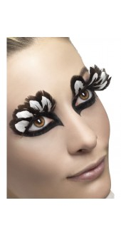 Brown And White Feathered Eye Lashes