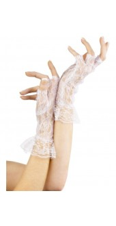 White Polka dot Gloves With Bow