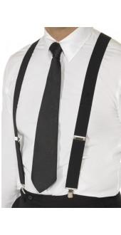 Black 1920s Elasticated Braces