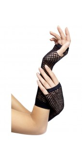 Fishnet Long Black Gloves