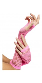 Fishnet Long Pink Gloves