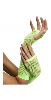 Fishnet Long Neon Green Gloves