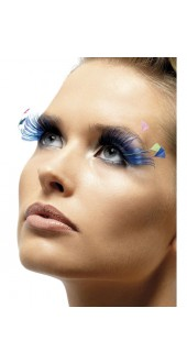 Eyelashes Blue With Feather Plumes