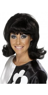 60s Flick up Wig Black
