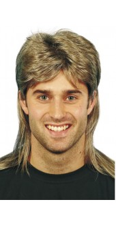 80s Mullet Wig Brown With Blonde Highlights