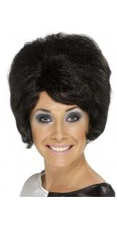 60s Beehive Wig Black