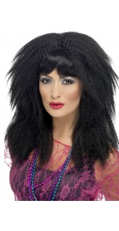 80s Trademark Crimp Wig Black