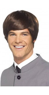 60s Short Male Mod Wig Brown