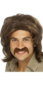 70`s Guy Wig Brown Bee Gee Fancy Dress
