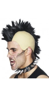 Mohican Wig Black Punk Fancy Dress Smiffys