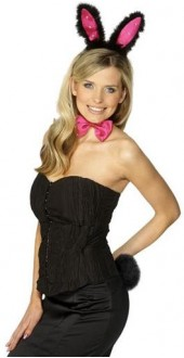 Adult Female Black And Pink Bunny Ears Fancy Dress Smiffys