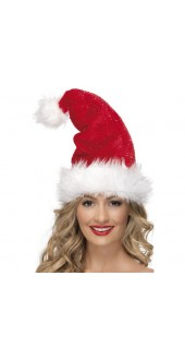 Deluxe Christmas Hat With Tinsel