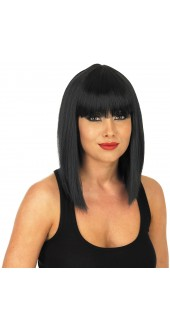 Ladies Black Straight Cut Fancy Dress Wig